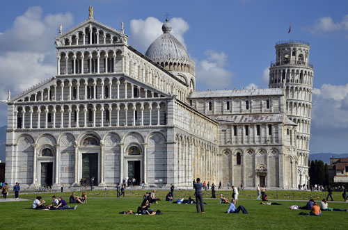 Front View of the Cathedral and the Leaning Tower of Pisa